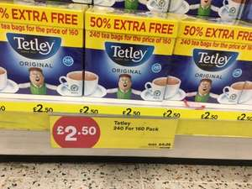 Tetley Original Tea Bags 160s 50% Extra Free 750g = 240 tea bags £2.50 instore @ Iceland