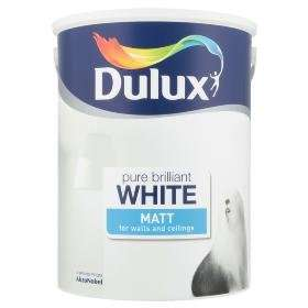 Dulux 5l Matt Emulsion paint in pure brilliant white @ Asda - £10