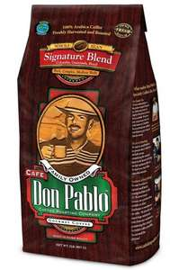 Cafe Don Pablo Gourmet Coffee Signature Blend - Whole Bean - 2 Lb Bag (907 g) - £7.99 (Prime or add £4.75) - Sold by Burke Brands, LLC and Fulfilled by Amazon
