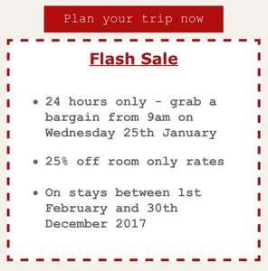 Jurys Inns Flash sale. Starts Wednesday 25th January at 9am