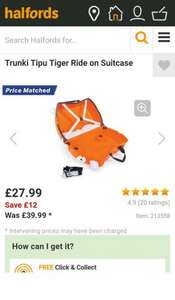 Trunki Tipu Tiger Ride on Suitcase £27.99 @ Halfords
