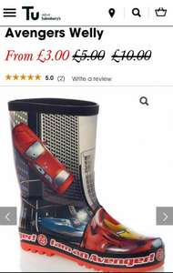 Boys Red Disney Marvel Avengers Welly 70% off £3.30 @ tuclothing