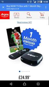 Nowtv sky sports month pass and box at argos - £24.99 (£22.49 with code SMART10)