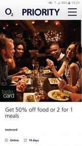 100 day tastecard free trial via 02 Priority app