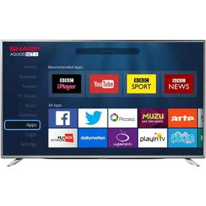 "Sharp  LC-55CUG8462KS 55"" Smart 4K Ultra HD TV  £381.60  ao.com with code"