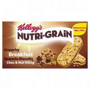 Kelloggs nutri grain breakfast granola bar choc and nut pack 5 pack 10p rrp £1.49 @ poundstretcher