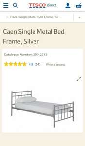 Caen Single Metal Bed Frame, Silver @ Tesco Direct for £45.50. Free delivery if you have Delivery saver plan otherwise add £7.95 postage