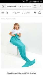 New look blue knitted Mermaid Tail Blanket £7 / £10.99 delivered / c&c