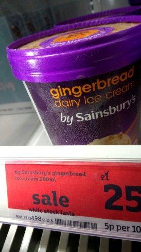 500ml Tub of Gingerbread Ice Cream 25p @ Sainsburys Instore