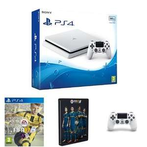 New PlayStation 4 500GB White + FIFA 17 + Steelbook + Extra White Dualshock 4 £249.99 @ Amazon