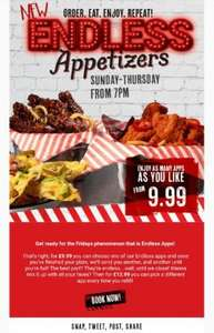 All You Can Eat Appetizers £9.99 TGI Fridays National