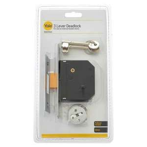 Yale 3 lever deadlock chrome and brass 2.5 just £1.99!! rrp £7.99 @ B&M