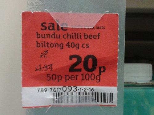 Bundu Chilli Beef Biltong 20p a pack @ Sainsburys Instore
