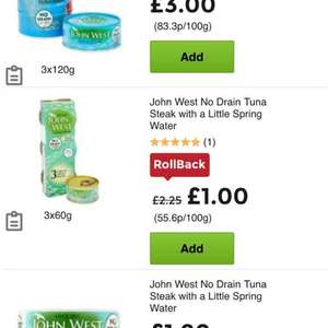 John West No Drain Tuna in Spring Water 3x60g 50p at Asda