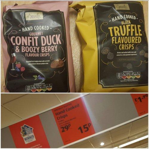 Aldi hand cooked crisps, 150g (Gourmet Confit Duck & Boozy Berry flavour; Black Truffle flavour; Port & Stilton flavour) 15p instore