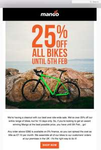 25% off every bike at Mango Bikes (single speed, road, gravel, ladies)