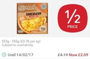 Goodfellas The Big Cheese Takeaway Pizza and Garlic Dip/Pepperoni Pizza Half price £2.09 @ Co-Op