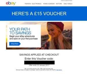 Ebay New Account £15 off on £25 purchase [May be selected account]