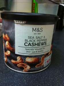 M&S Sea Salt & Black Pepper Cashews 320g reduced from £6.00 to £3.00 instore