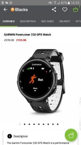 Garmin 230 Running Watch £135 @ Blacks