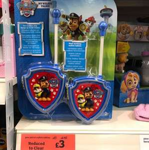 paw patrol walkie talkie £3 was £13 at Sainsbury's clearance instore