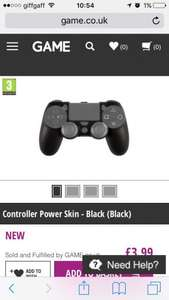 Ps4 controller power skin with inbuilt battery - £3.99 @ GAME