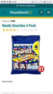 Nestle smarties 4 full size pack just £1 instore @ poundland
