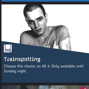 Trainspotting film (danny Boyle).    Channel 4 all4 film4 till Sunday