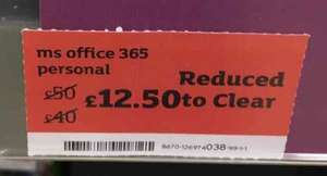 Office 365 Personal in-store at Sainsbury's. On shelf at £12.50. Scanned at a penny!