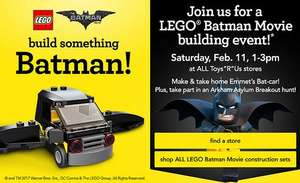 Free Lego Batman Emmet's Bat-Car model @ Toys R Us (February 11th, 11-1pm)