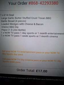 pizza hut £14 deal giving two now tv passes