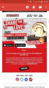 TGI Fridays free brownie upgrade on Valentine's day