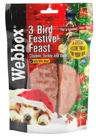 Webbox 3 Bird Festive Feast Strips - Dog treats £18