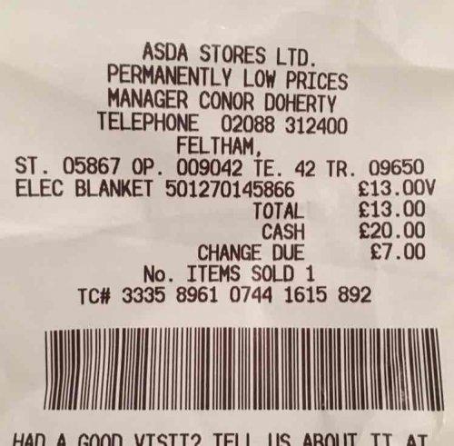 Silentnight Comfort Control electric Blanket king £13 @ Asda
