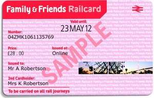 One Year Family & Friends Railcard now £24 (saving £6) with code + Possible 5% cashback