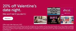 20% off various giftcards Pizza Express, Pizza Hut Restaurant , Zizzi, Spa Finder & Gap @ Tesco