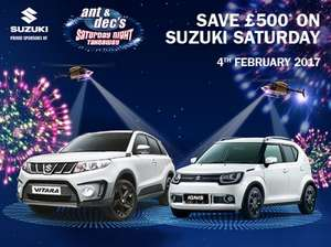 #suzukisaturdays - £500 off any car this saturday - 4th feb, 2017