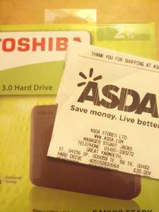 Toshiba Canvio Hard Drive USB3 2TB (Instore) £20 Great Yarmouth Asda