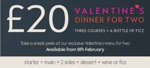 £20 Valentine's 3 course dinner for two with wine or chocs at Waitrose - from 9th Feb