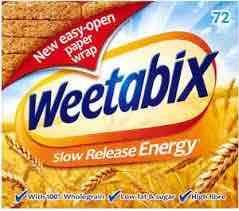 Weetabix pack of 72 at Tesco for £2.85 per box instore