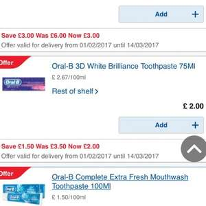 Oral B 3D white Toothpaste 75ml £1.25 instore at Tesco