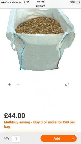 B&q 20mm gravel bulk bag ( code stack ) £36.00 each