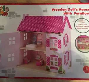 Morrisons Wooden Doll's House with furniture - reduced to £7.50 to clear - in store only