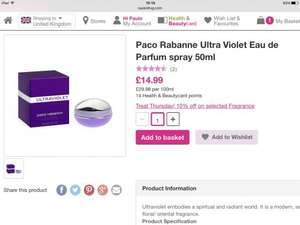 Paco Rabanne Ultra Violet 50ml (women's) £14.99 (£13.49 beauty card holders) at Superdrug