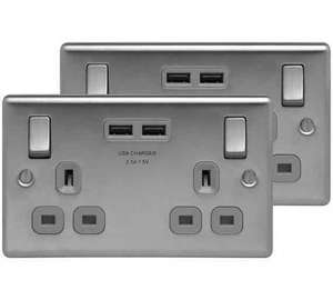 BG Masterplug twin pack USB double socket brushed steel £14.99 @ Argos C&C
