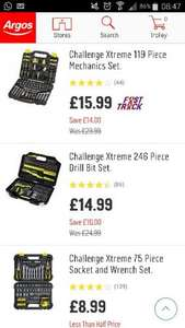 CHALLENGE XTREME 75pcs for £8.99, 246pc drill bit for £14.99, 119pc set for £15.99 @ argos