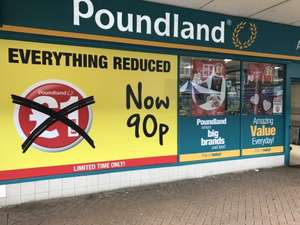 Poundland,Hatfield,Herts all £1 items reduced to 90p - Not National .. store specific