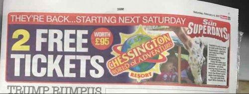 Sun Superdays Chessington Free Tickets