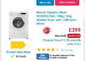 Hoover Dynamic Next WDXCE51062 10Kg / 6Kg Washer Dryer with 1500 rpm - White - £349 @ AO.com