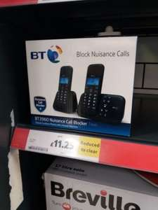 BT Nuisance Call Blocker Twin Pack. Digital cordless phone with answer machine twin pack £11.25 @ Tesco instore